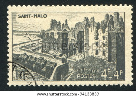 FRANCE - CIRCA 1945: stamp printed by France, shows ruins of Saint-Malo, circa 1945