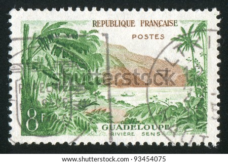 FRANCE - CIRCA 1957: stamp printed by France, shows Sens river, Guadeloupe, circa 1957