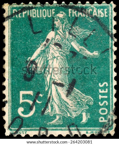 FRANCE - CIRCA 1906: stamp printed by France shows sowing, circa 1906