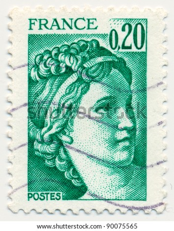 FRANCE - CIRCA 1978: stamp printed by France, shows The Sabine Women (detail): (1748-1825) by Jacques-Louis David, circa 1978 - stock photo