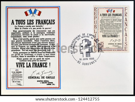 FRANCE - CIRCA 1964: Stamp printed in France celebrating the anniversary of the liberation, shows Appeal of 18 June 1940 by Charles de Gaulle, circa 1964 - stock photo