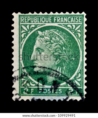 """FRANCE - CIRCA 1945: stamp printed in France, shows Ceres (In ancient Roman religion, Ceres was a goddess of agriculture), without inscription, from the series """"Ceres"""", circa 1945 - stock photo"""