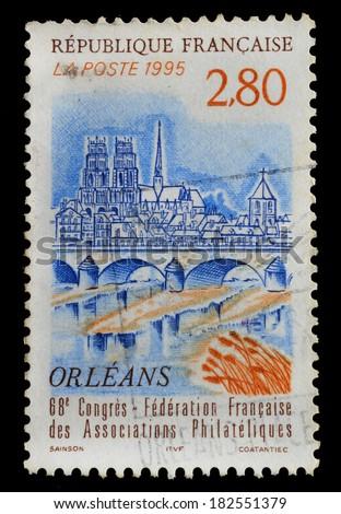 FRANCE - CIRCA 1995 :  stamp printed in France shows 68 th French Federation of Philatelic Associations Congress, circa 1995