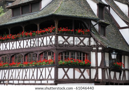 France, coloured house in the district of La Petite France in Strasbourg