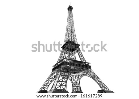 France Concept. Paris Eiffel tower on a white background