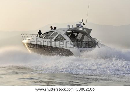 France, Corsica, Ajaccio, luxury yacht,  Azimut Atlantis 50' - stock photo