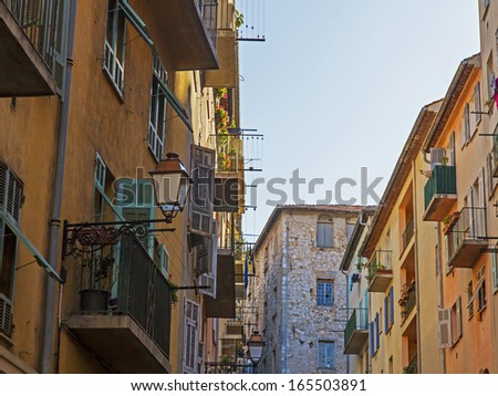 France , Cote d'Azur . Nice, typical architectural details of the buildings in the old town