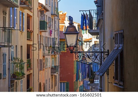 France , Cote d'Azur . Nice, typical architectural details of the buildings in the old town. Historical part of Nice (Vieuix-Nice) in built up in the XVI-XVII- th centuries - stock photo