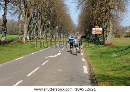 France, cyclists on a country road in Val d Oise