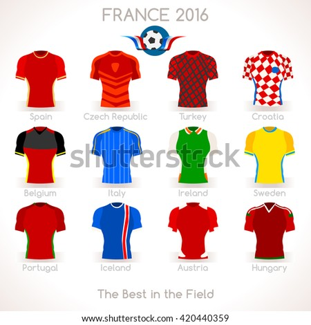 France EURO 2016.Soccer Jersey Apparel Player Athletes. France 2016 Match. EURO Championship Football Game.Soccer International Match Illustration. Soccer European Cup 2016 Jersey Apparel Player - stock photo