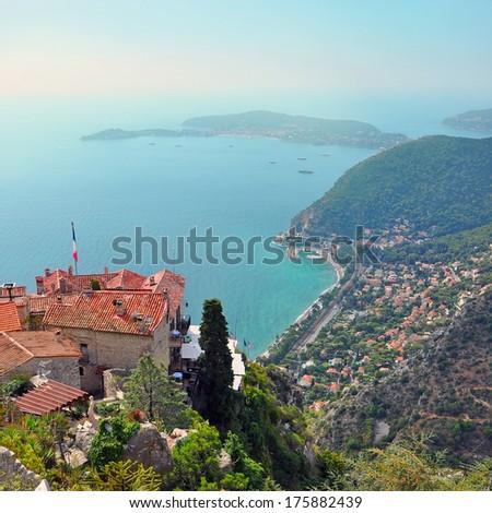 France Eze village seaview landscape - stock photo