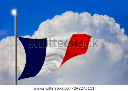 France flag at half mast, flag down - stock photo