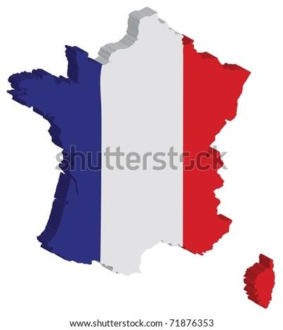France flag 3D - stock photo