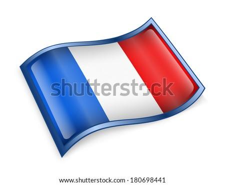 France Flag Icon, isolated on white background. - stock photo