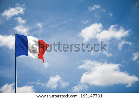France flag on blue sky - stock photo