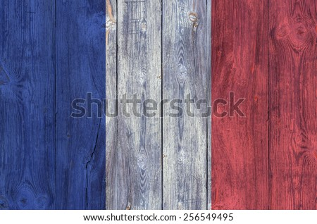 france flag on the boards - stock photo