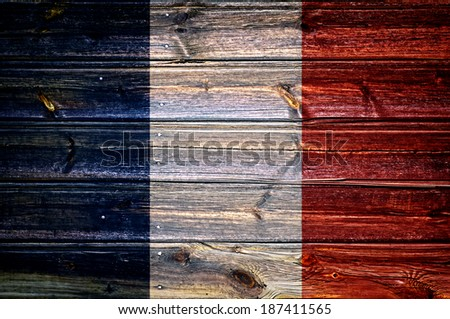 france flag painted on old wood background  - stock photo