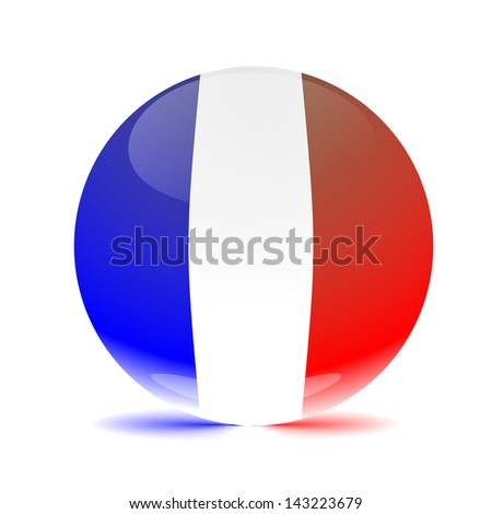 France flag sphere colored shadow - stock photo