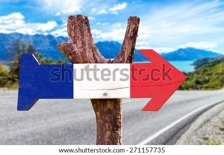 France Flag wooden sign with road background - stock photo