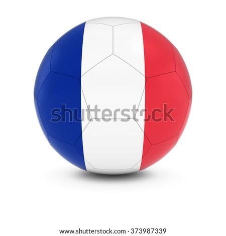 France Football - French Flag on Soccer Ball - stock photo