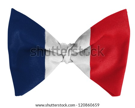 France. French flag  on a bow tie - stock photo