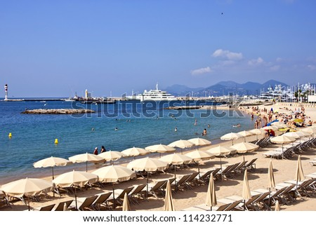 France, French riviera. Cannes. Beach - stock photo