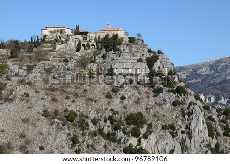 France,french riviera,Gourdon,picturesque perched village, - stock photo