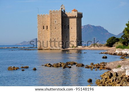 France, French riviera, Lerins islands,fortress monastery - stock photo