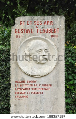 France, Gustave Flaubert stele in the village of Ry in Seine Maritime - stock photo