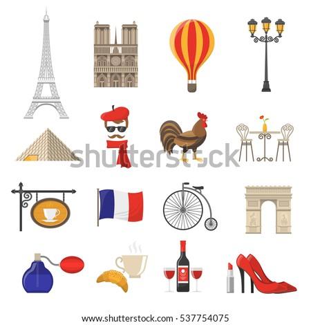 Paris France Travel Set Stock Vector 109015739 Shutterstock