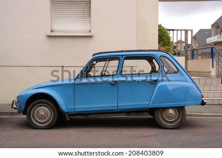 FRANCE - JULY 20: Classic vintage typical French economy 70s car taken on July 20, 2014 in Brittany, France - stock photo