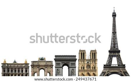 France, landmark of Paris, on a white background - stock photo