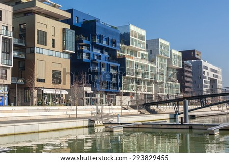 FRANCE, LYON - FEBRUARY 19: The Confluence District in Lyon, France on February 19, 2013. New district with an modern architecture in the place of the old port