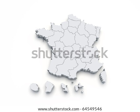 France map 3D on white isolated - stock photo