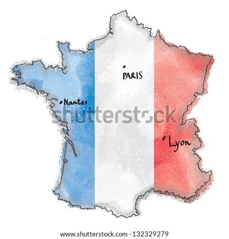 France map on France flag drawing. Vintage map watercolor painted - stock photo