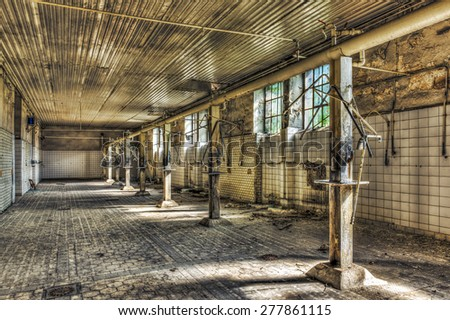 FRANCE - MAY 13: Derelict shower room in an abandoned coal mine on May 13, 2012 somewhere in France - stock photo
