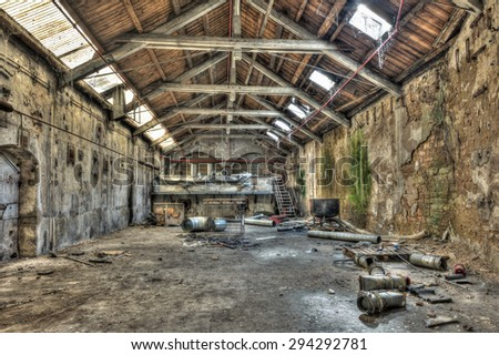 FRANCE - MAY 30, 2015: Inside Old Abandoned Industrial Warehouse, somewhere in France