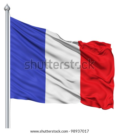 France national flag waving in the wind