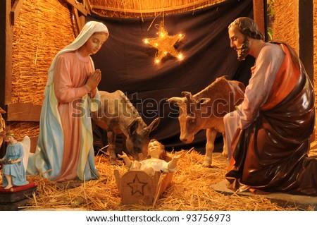 France, nativity scene in Triel-sur-Seine church - stock photo