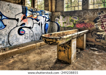 FRANCE - NOVEMBER 24: Derelict washbasin used for feeding horses in an abandoned coal mine on November 24, 2012 somewhere in France - stock photo