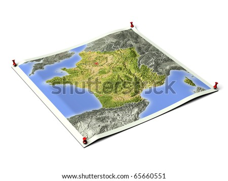 France on unfolded map sheet with thumbtacks. Map colored according to vegetation, with borders and major urban areas. Includes clip path for the background. - stock photo