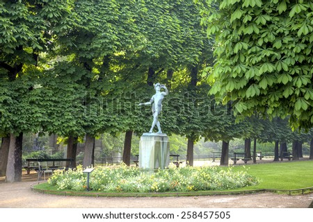FRANCE, PARIS - April 29.2014: Ancient sculptures on the alleys of park of the Luxemburg palace in city Paris