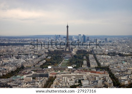 France, Paris: nice aerial city view on Eiffel Tower from montparnasse