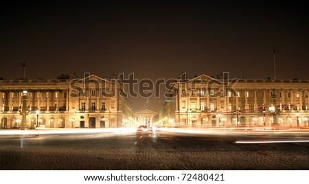 France - Paris -night view of La Madeleine from la concorde square - stock photo