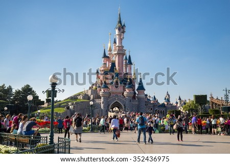 FRANCE, PARIS - 10 SEP, 2014: Beautiful famous castle in Disneyland. - stock photo