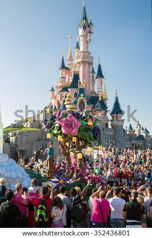 FRANCE, PARIS - 10 SEP, 2014: The Lair of the Dragon and famous castle in Disneyland. - stock photo
