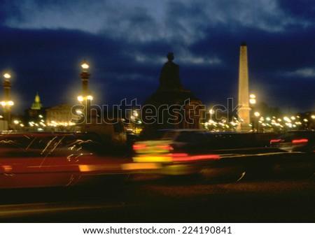 France, Paris, traffic in Place de la Concorde at night - stock photo