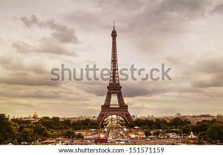 FRANCE - PARIS - view of Tour Eiffel at sunset - stock photo