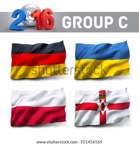 France 2016 qualifying group C with team flags. European soccer competition. - stock photo