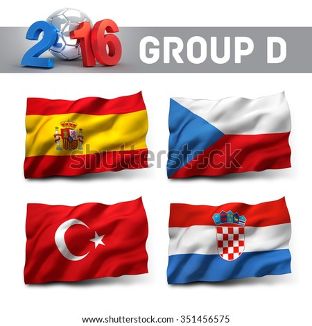 France 2016 qualifying group D with team flags. European soccer competition. - stock photo